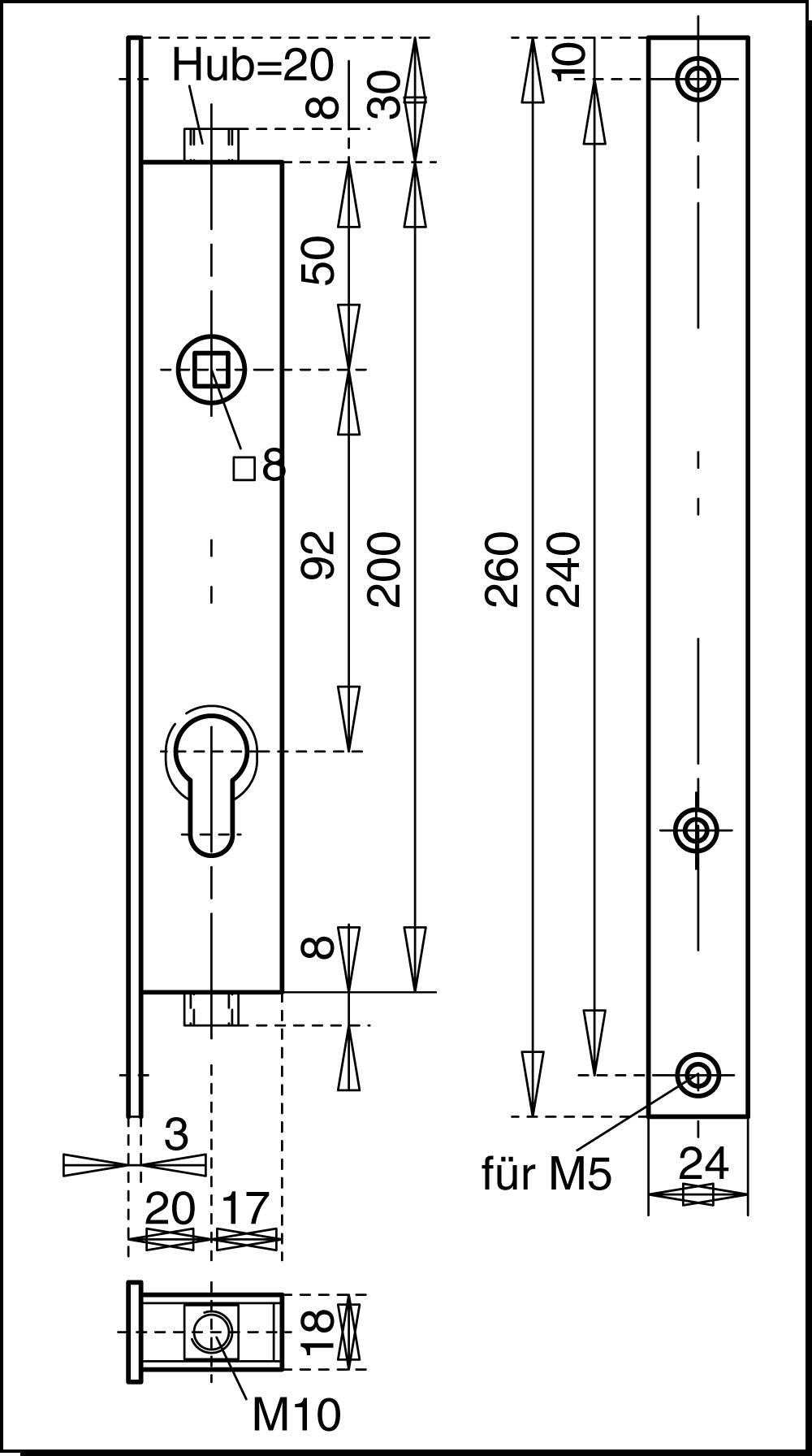 treibriegelschloss f r tore treibriegel treib kantriegel schl sser verriegelungen. Black Bedroom Furniture Sets. Home Design Ideas